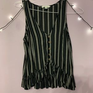 American Eagle Button Front Ruffle Tank